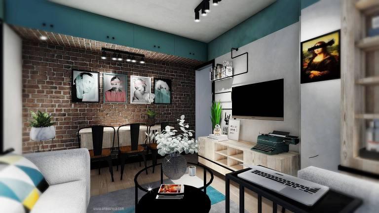 Proyecto de diseño e interiorismo en 3D para apartamento en Madrid de estilo industrial #Anautrillainteriorismoonline #diseñodeinterioresen3D
