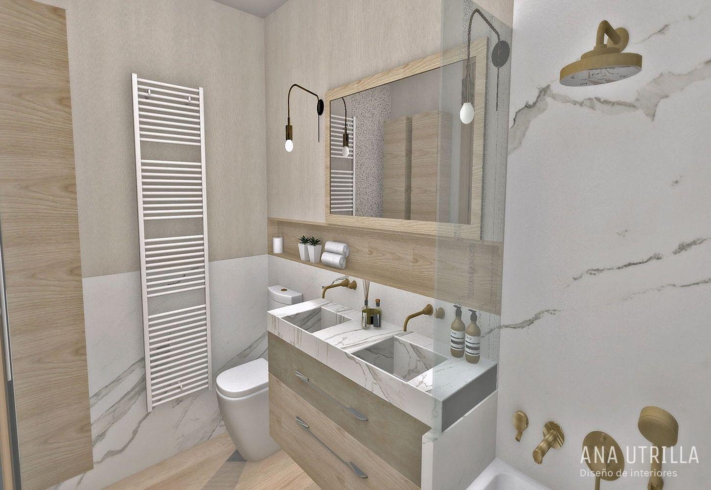 Proyecto de interiorismo para baños y aseo de cortesía de estilo moderno en madera y mármol en Valladolid @Utrillanais