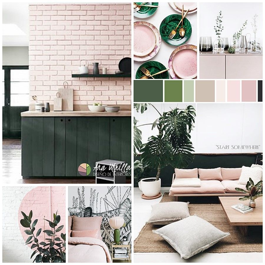 Moodboard de colores y estilo primaverales en tonos verde y rosa por @Utrillanais