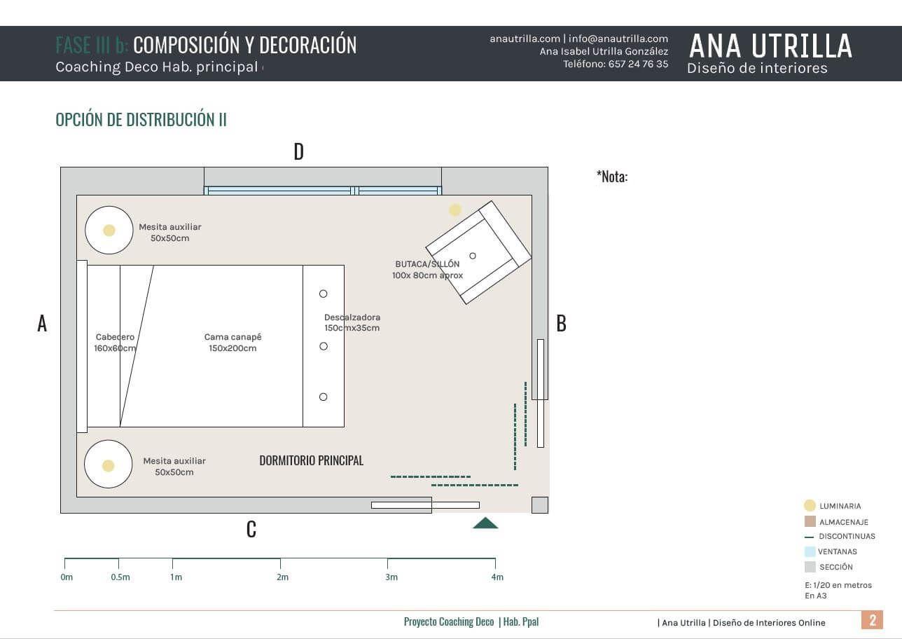 Propuesta de distribución en planta del mobiliario para dormitorio principal en Vizcaya de estilo rustico-vintage. Plano de planta en 2D #AnaUtrillainteriorismoonline
