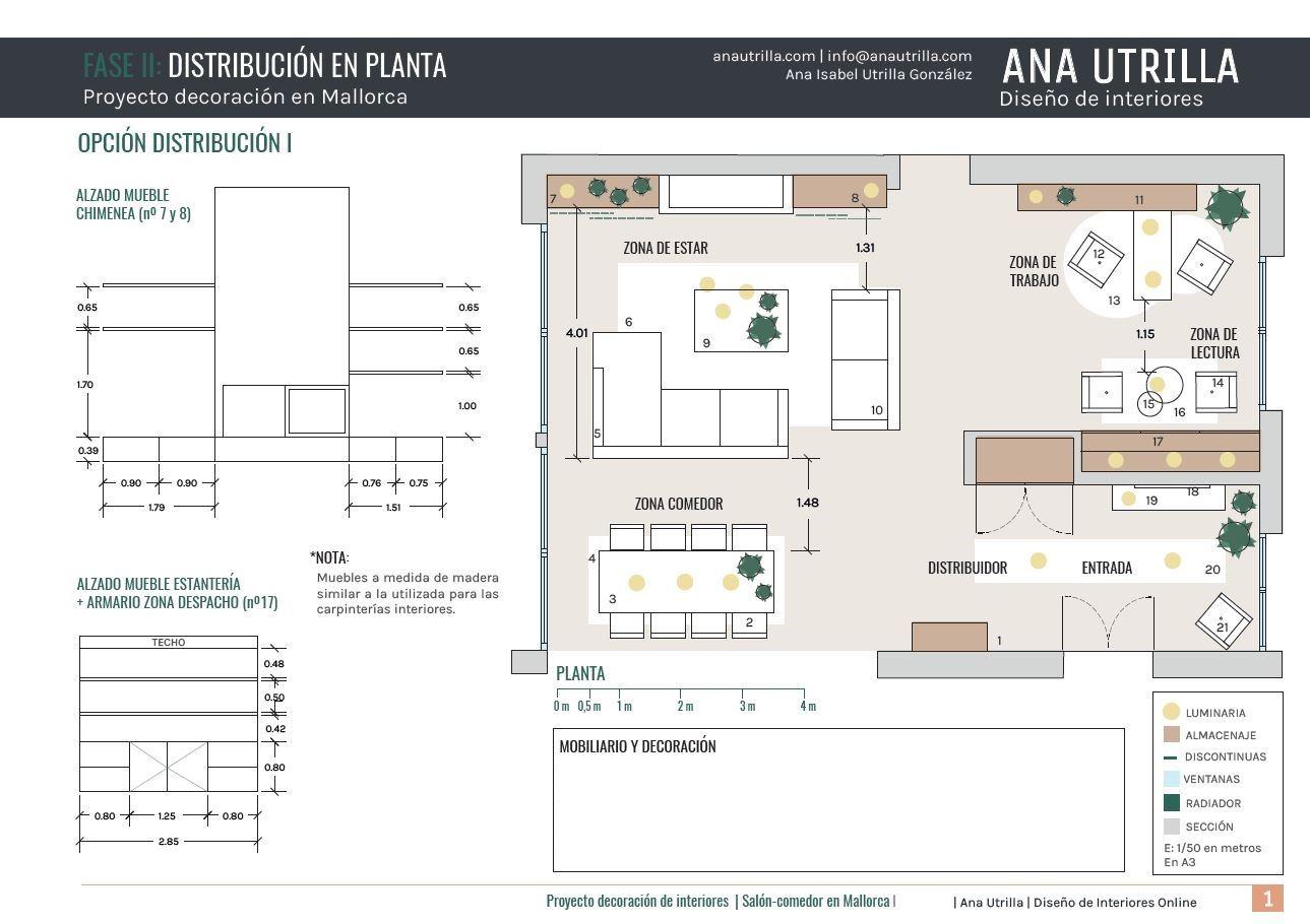 Proyecto de interiorismo para salón-comedor y despacho en Palma de Mallorca de estilo noretnico, boho, plano de distribución de mobiliario II @Utrillanais