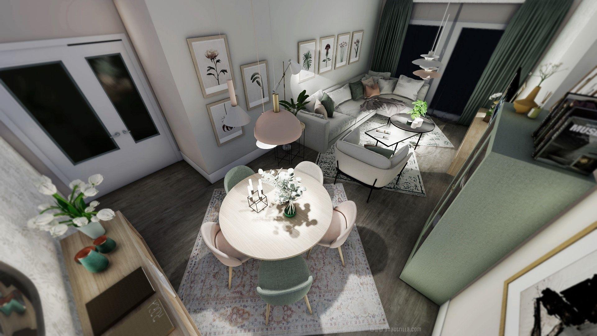 Espacio de salón comedor de estilo nórdico y toques femeninos rosados, de estilo escandinavo en Madrid, proyecto de diseño de interiores en 3D online #Anautrillainteriorismo @utrillanais