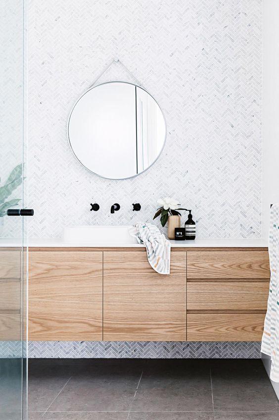 Tendencia en estilos de decoración de interiores Mindfulness, interiores serenos en armonía de tonos neutros en el baño al estilo spa @Utrillanais