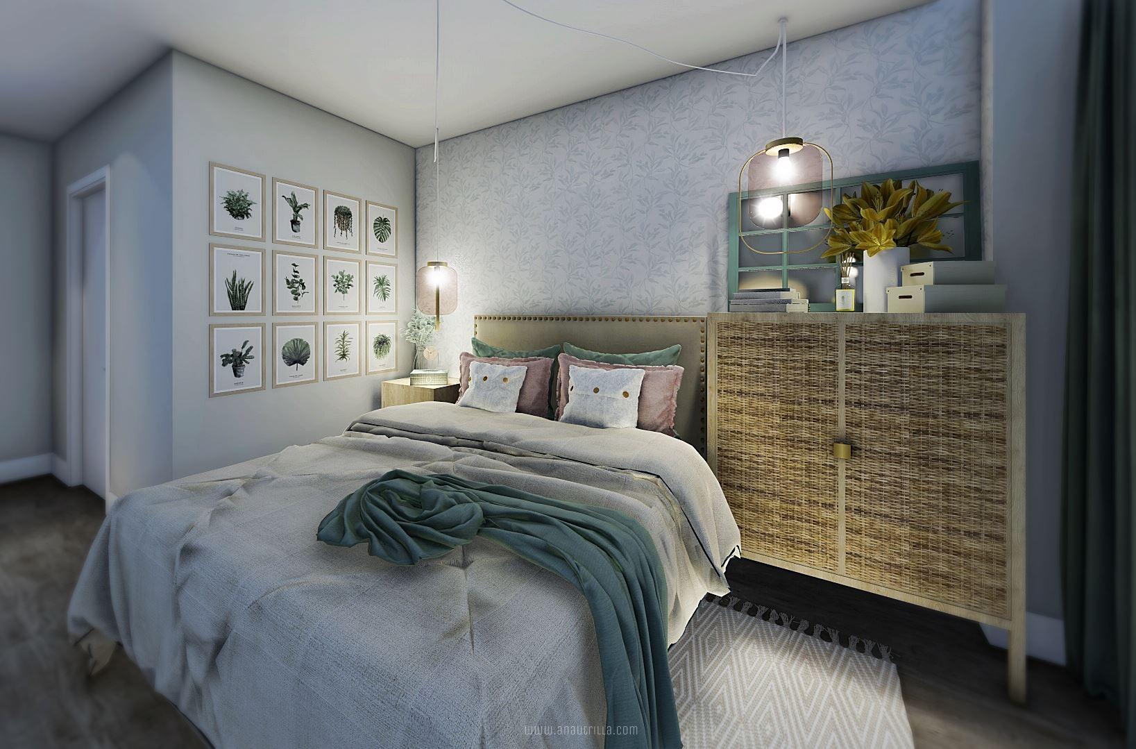 Infografía 3D de habitación principal de estilo nórdico y toques femeninos de colores rosas y verdes poco saturados #AnaUtrillainteriorismo #3D #Rendering3D @Utrillanais