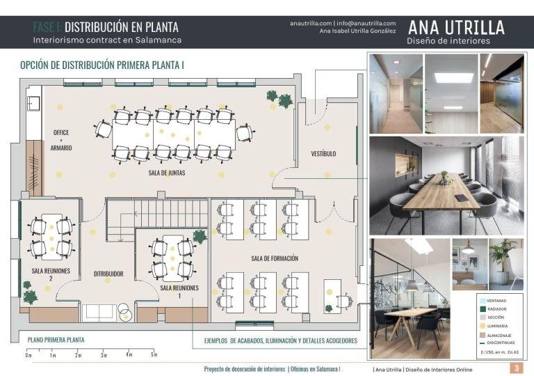 Plano de planta de proyecto de diseño e interiorismo en 2D para oficinas en Salamanca de estilo nórdico industrial #Diseñocasasconencanto #AnaUtrillainteriorismo @Utrillanais