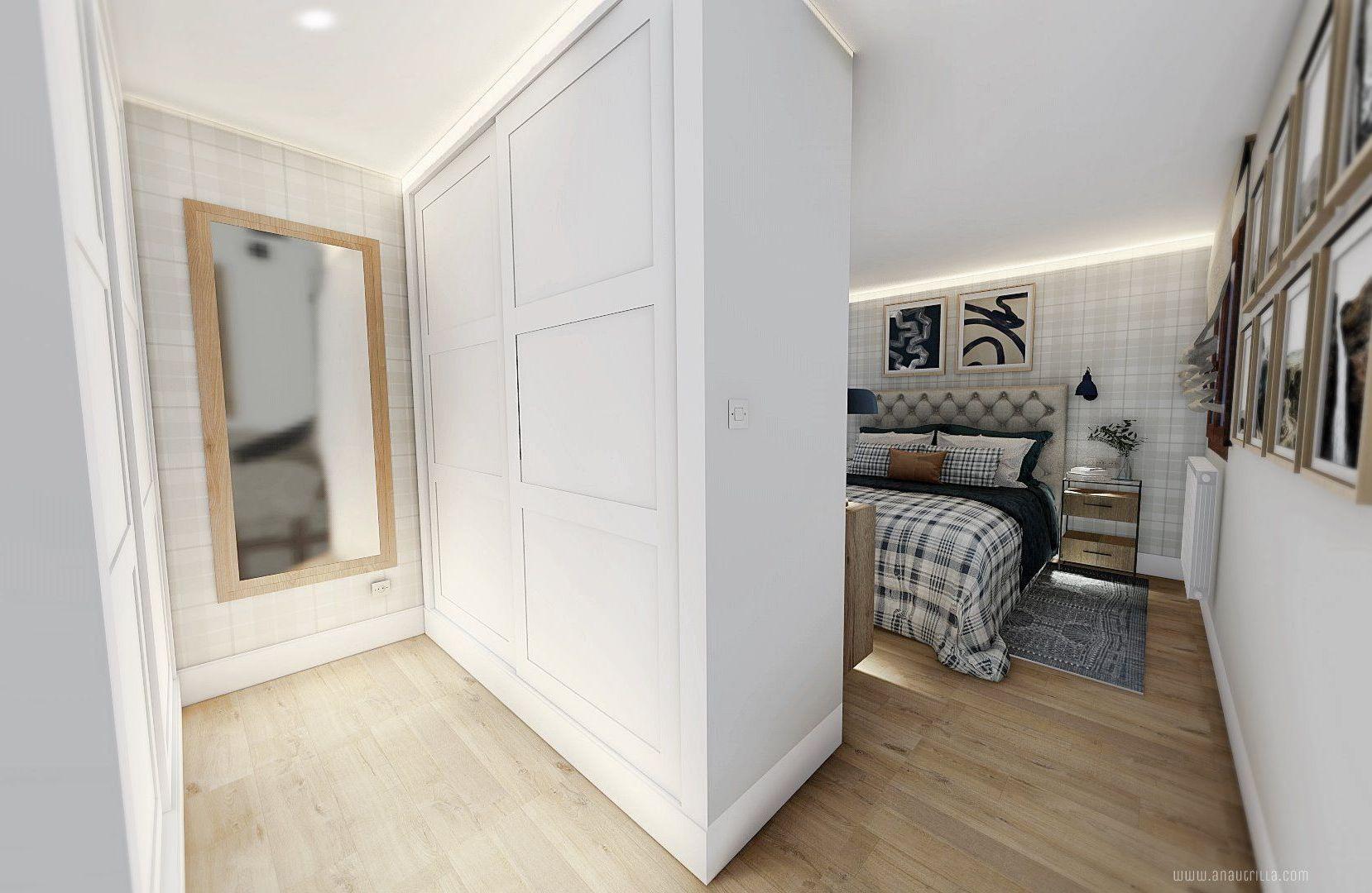 Zona de vestidor de habitación principal de tonos neutros y azules, iluminación indirecta en foseado, armarios empotrados de molduras clásicas modernas en blanco. Proyecto de diseño de interiores 3D online en Valladolid, España #Anautrillainteriorismo @utrillanais