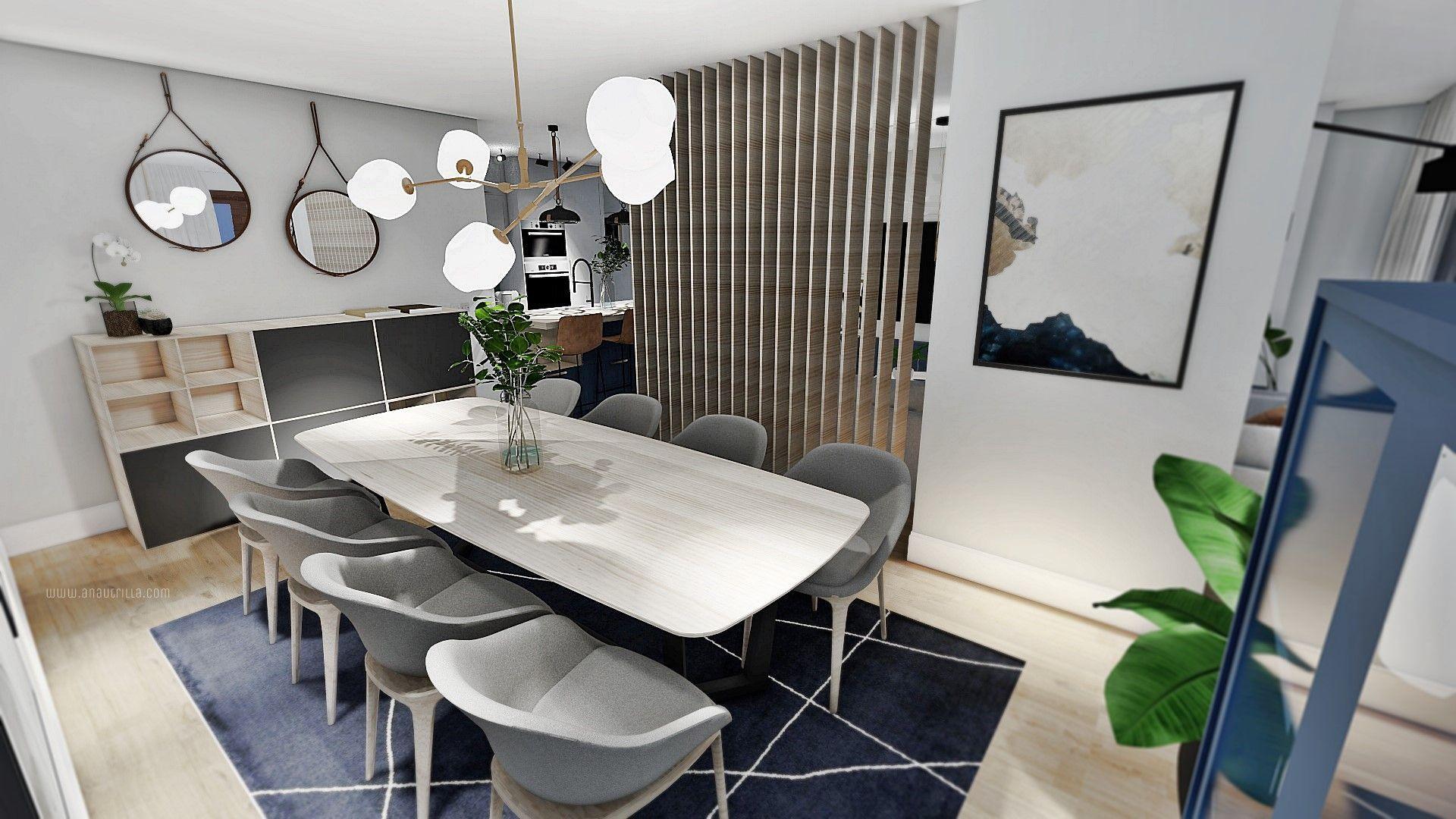 Proyecto de diseño e interiorismo 3D, espacio de salón comedor concepto abierto en tonos azules y neutros #AnaUtrillainteriorismo #slowinteriordesign @utrillanais