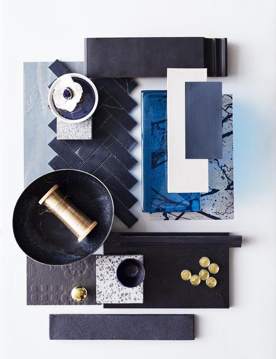Material Moodboard, ejemplo de cómo presentar los materiales y la paleta de colores en un collage o moodboard para obtener claridad en tus ideas @Utrillanais