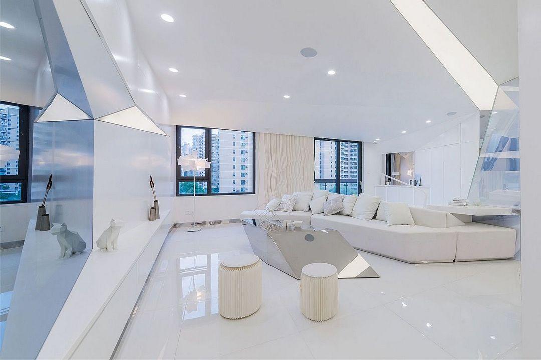Apartamento de diseño minimalista y futurista, en tonos neutros y blancos, donde se integra la tecnología para conseguir un hogar inteligente, tendencias de diseño e interiorismo 2020 @Utrillanais