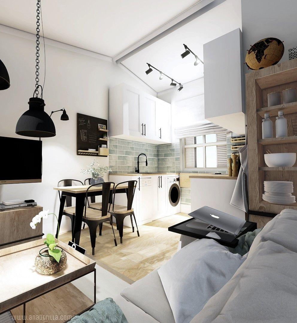 Proyecto diseño de interiores 3D online, para casa rural en Santander de estilo Farmhouse moderno y toques playeros #Turismorural #SlowInteriorDesign @Utrillanais
