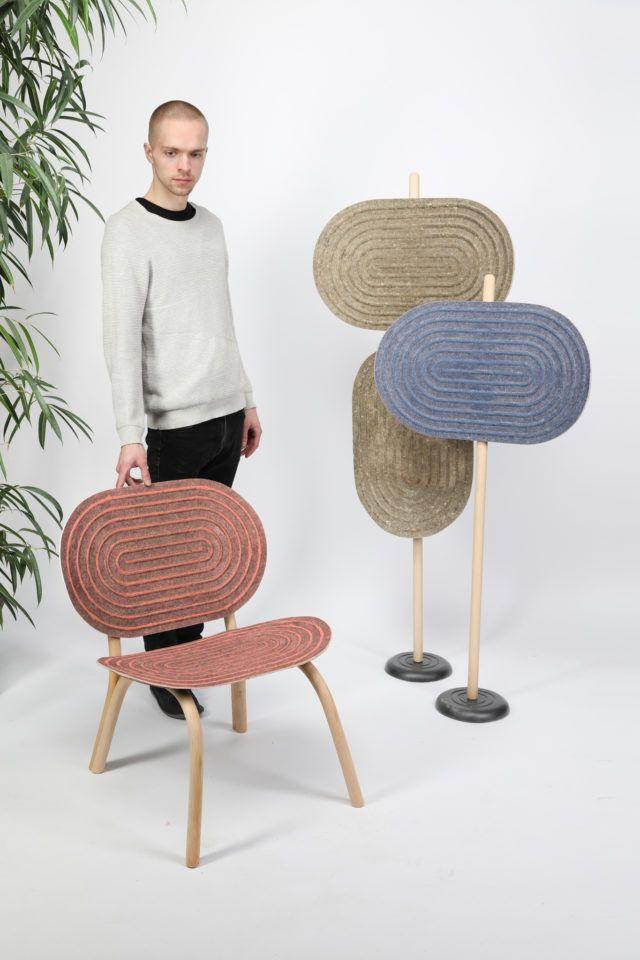 Mobiliario de Phillip Hainke, hecho a partir de fibras de cáñamo y caseína, diseño sostenible y biodegradable, tendencias en diseño e interiorismo 2020 @Utrillanais