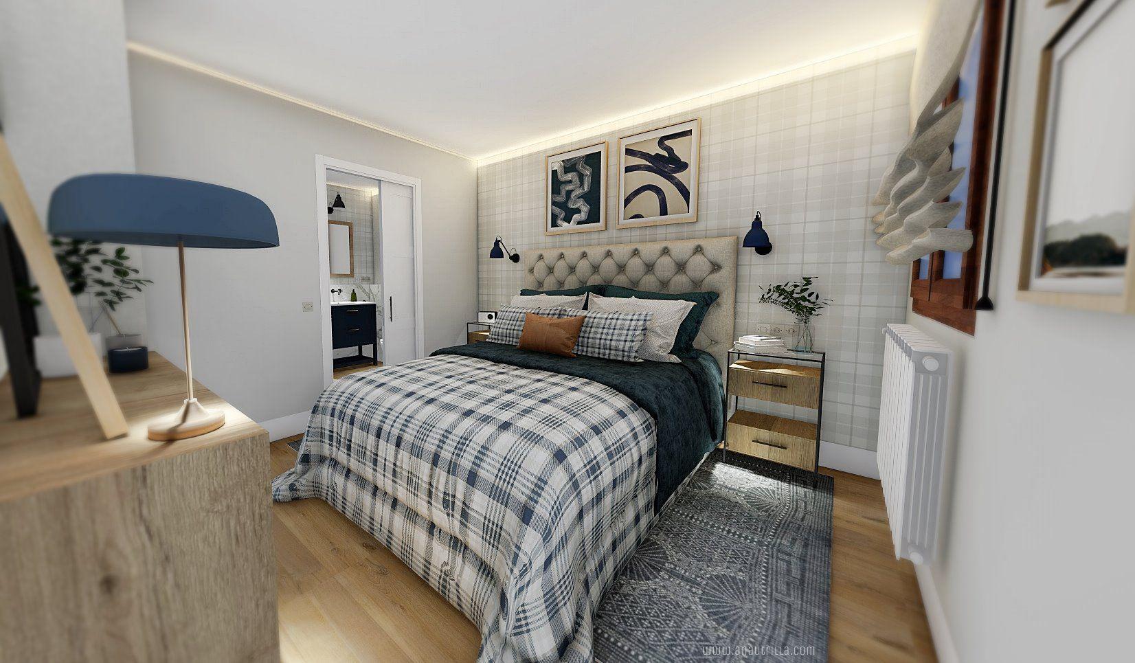 Habitación principal en tonos azules, de estilo gentleman proyecto de diseño e interiorismo 3D, reforma integral en Valladolid #AnaUtrillaInteriorismo @Utrillanais