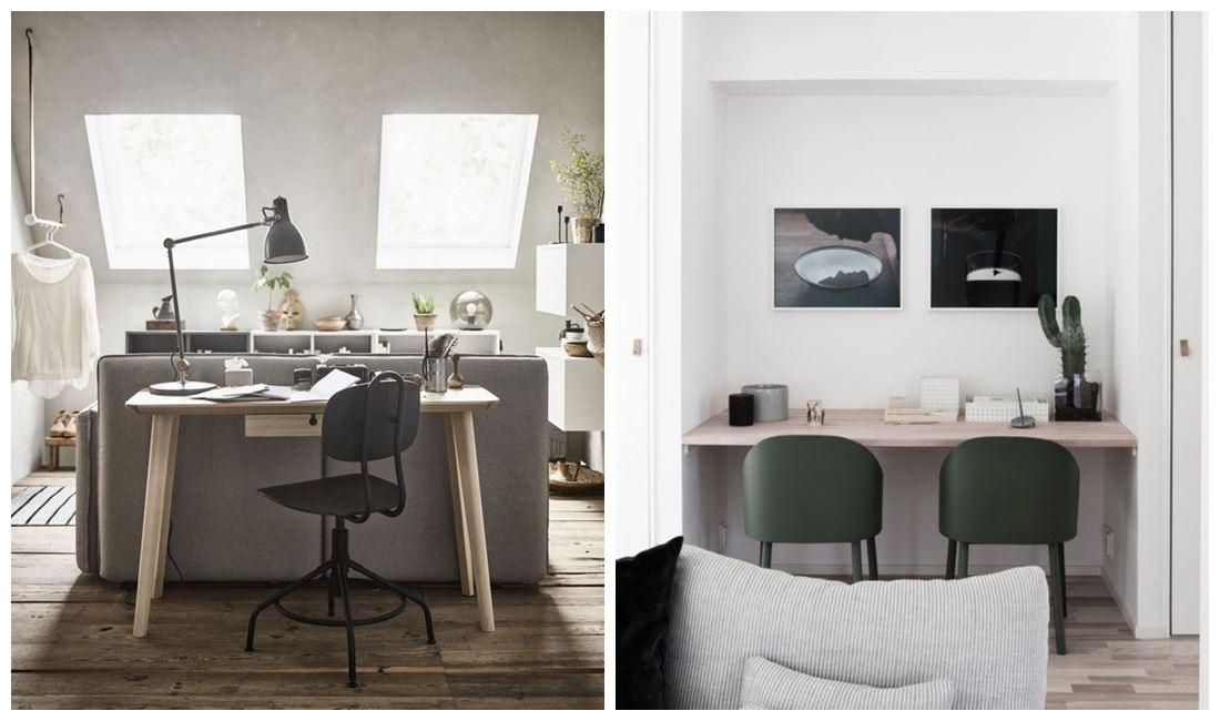 Zonas de trabajo en casa, aprovechar zonas iluminadas para organizar tu oficina en casa, de estilo nórdico en tonos neutros #homeoffice @utrillanais