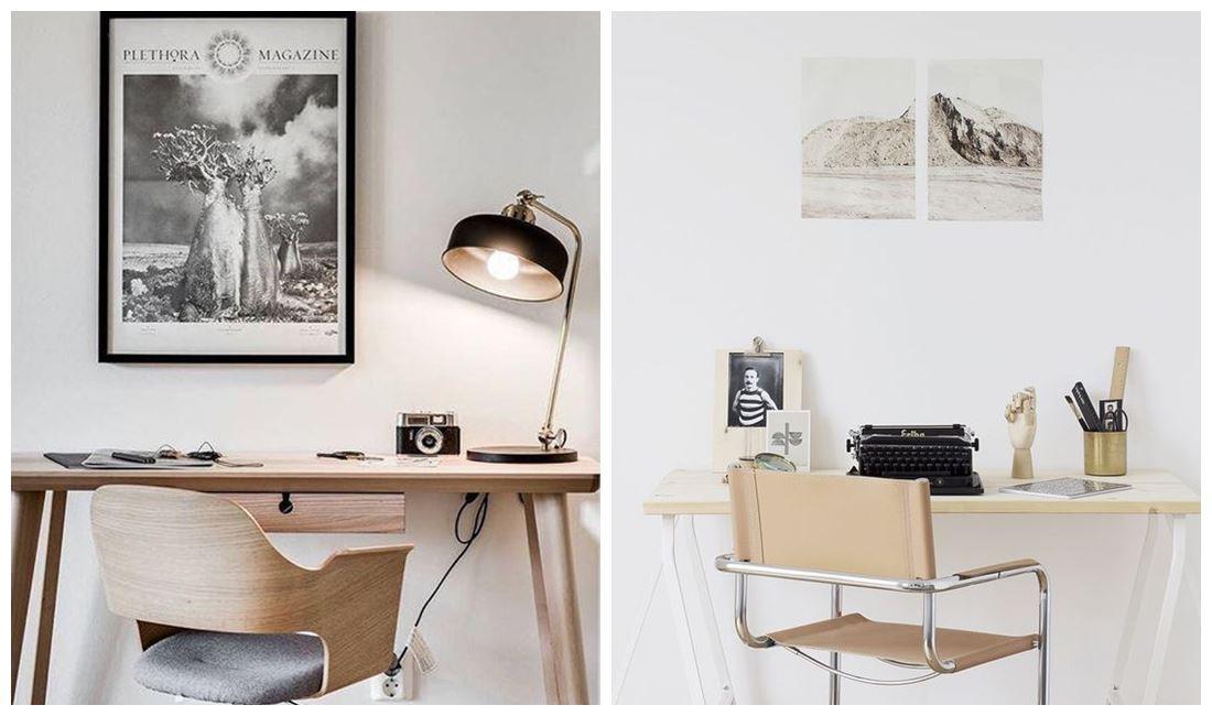 Ejemplos de oficinas en casa de estilo nórdico vintage, en tonos neutros, minimalistas @utrillanais