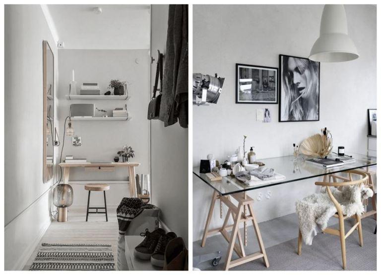 Zonas de escritorio y oficina en casa de estilo escandinavo y tonos neutros. #homeoffice #oficinaencasa @utrillanais