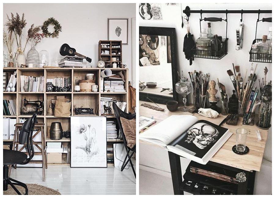 Zonas de taller y oficina en casa para artesanos, para diseñadores y teletrabajo de estilo nórdico vintage e industrial #homeoffice @utrillanais