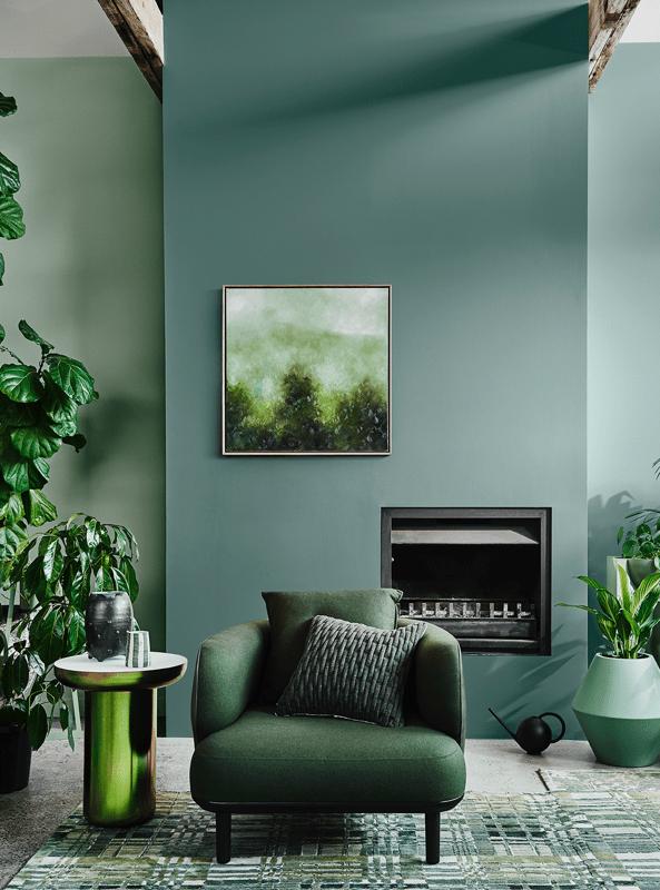 Salón en tonos verdes de estilo moderno contemporáneo, combina colores en tendencia en tu hogar #Anautrillainteriorismo @utrillanais