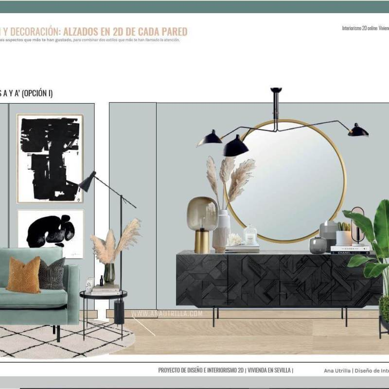 Asesoría en interiorismo online en 2D. Alzados en 2D de cada una de las paredes de su salón comedor en Sevilla de estilo moderno contemporáneo. #AnaUtrillainteriorismoonline #Asesoríadecoonline