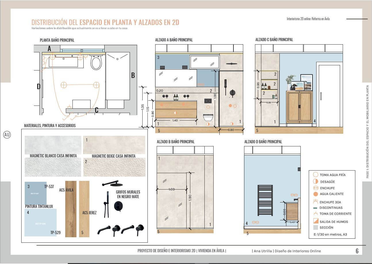 Alzados en 2D del baño de cortesía de la casa, proyecto de reforma integral en Ávila, de estilo nórdico-industrial. #AnaUtrillainteriorismoonline #AnaUtrillainteriorista