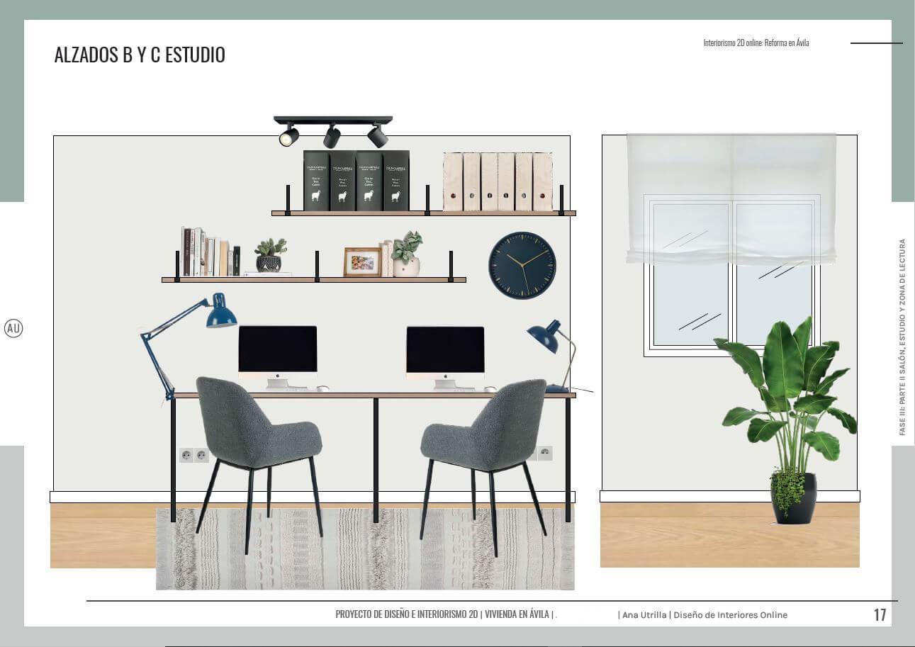 Alzados en 2D del home office o estudio de estilo nórdico-industrial, proyecto de reforma integral en Ávila. #AnaUtrillainteriorismoonline #AnaUtrillainteriorista