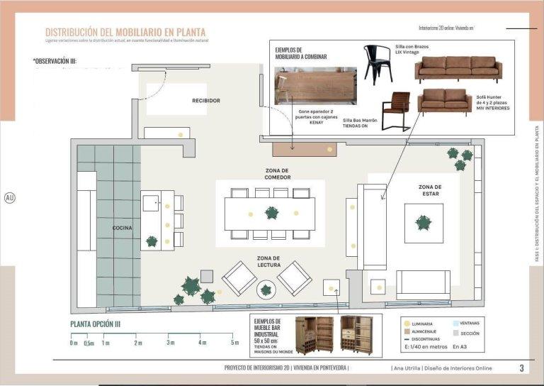 Plano de planta de salón comedor y entrada de vivienda en Pontevedra de estilo Industrial. Asesoría en diseño e interiorismo en 2D online. #AnaUtrillainteriorismoonline #AnaUtrillainterioristaonline #Diseñoeinteriorismoonline