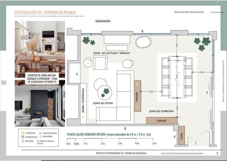 Proyecto de diseño e interiorismo en 2D, plano de planta de salón comedor de estilo moderno contemporáneo en Barcelona. #AnaUtrillainteriorismoonline