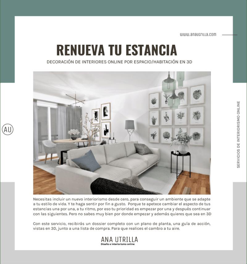 Servicio diseño de interiores online en 3D para estancias, por unidades. #AnaUtrillainteriorismoonline #AnaUtrillainteriorista