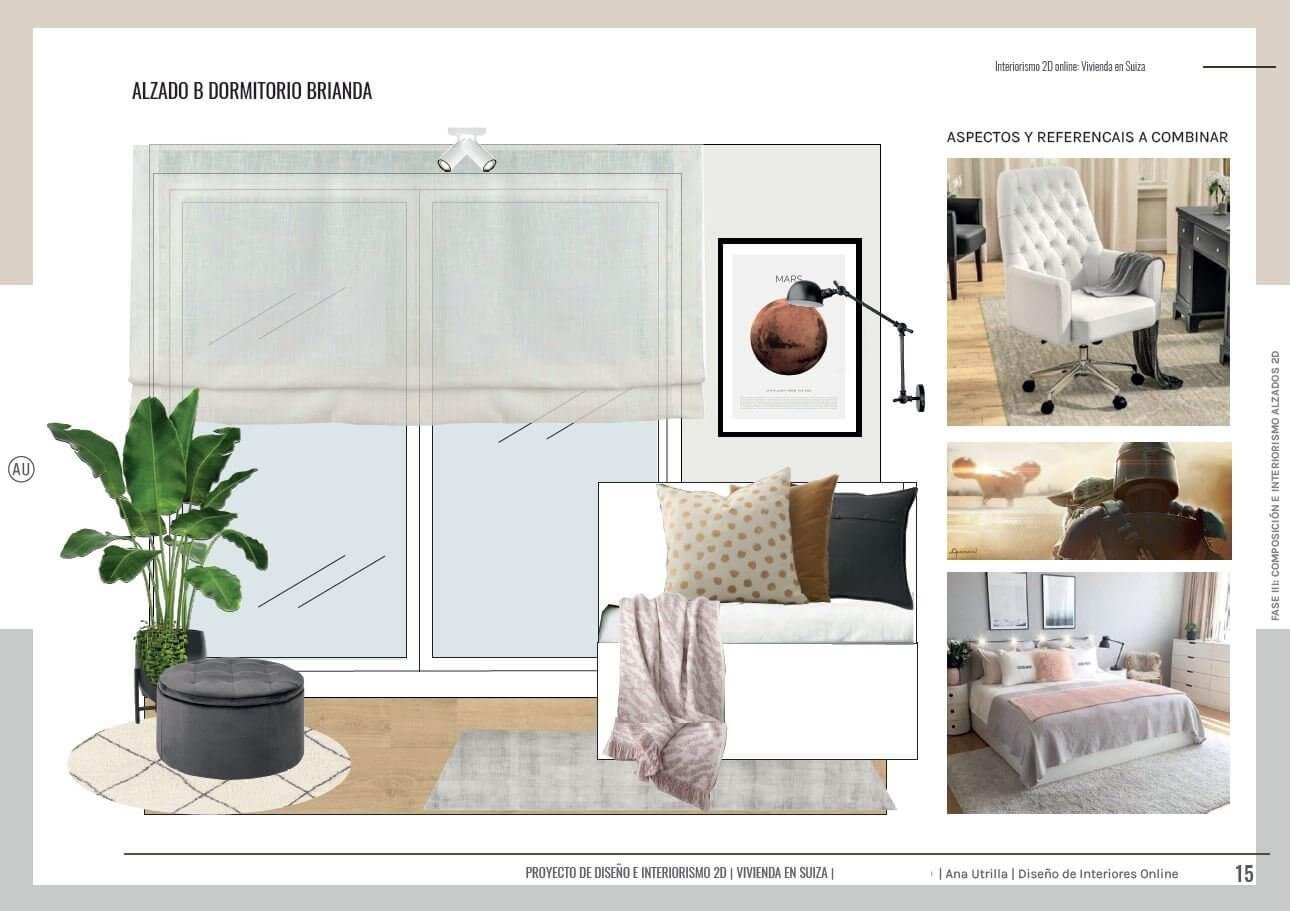 Alzado en 2D de dormitorio juvenil, the mandalorian, y estilo industrial en Suiza, casa unifamiliar, passive house. Diseño e interiorismo online Ana Utrilla.
