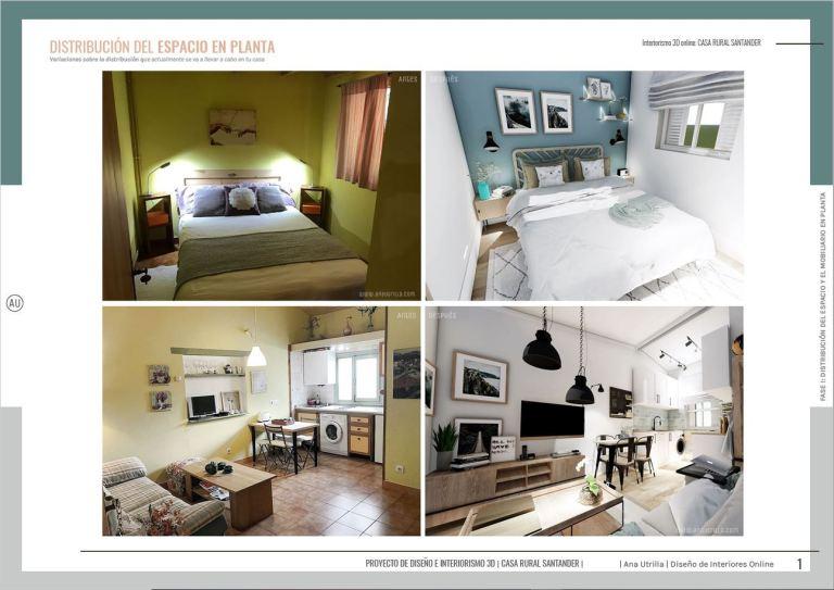 Interiorismo online para alojamientos rurales o espacios de oficina en 3D, material que se facilita en cada proyecto. Renders en 3D, infografías. #AnaUtrilla #Interiorismoalojamientosrurales