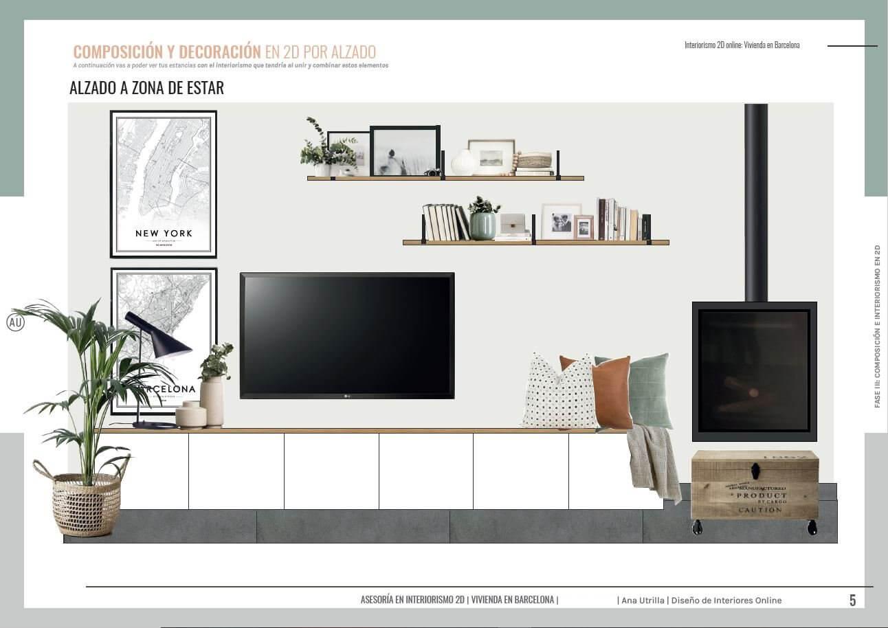 Proyecto asesoramiento en decoración de interiores y estilismo en 2D online, alzados salón comedor de estilo nórdico-industrial. @Utrillanais #AnaUtrillainteriorismo