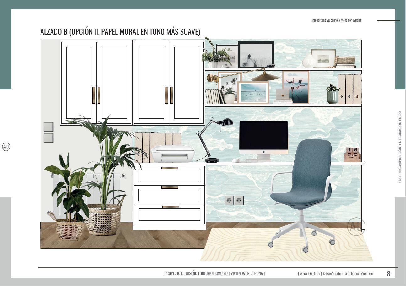 Proyecto de decoración de interiores en 2D online, alzados de zona de oficina en casa, para teletrabajar, junto a un espacio de estudio para tres, de estilo farmhouse moderno y toques mediterráneos, en Gerona. @Utrillanais #AnaUtrilla #Interiorismoonline