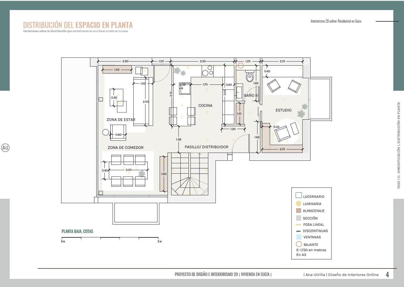 Plano planta, proyecto de diseño e interiorismo a medida online para passive house, vivienda contemporánea y de toques mediterráneos en Suiza. @Utrillanais #AnaUtrilla #Ineriorismoonline
