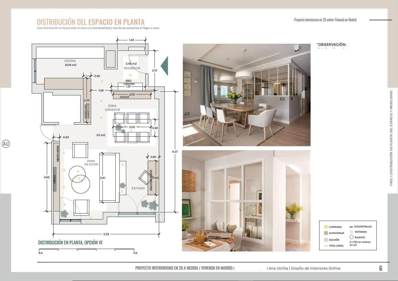Plano de planta salón comedor y home office de vivienda en Madrid. #AnaUtrilla #Interiorismoonline