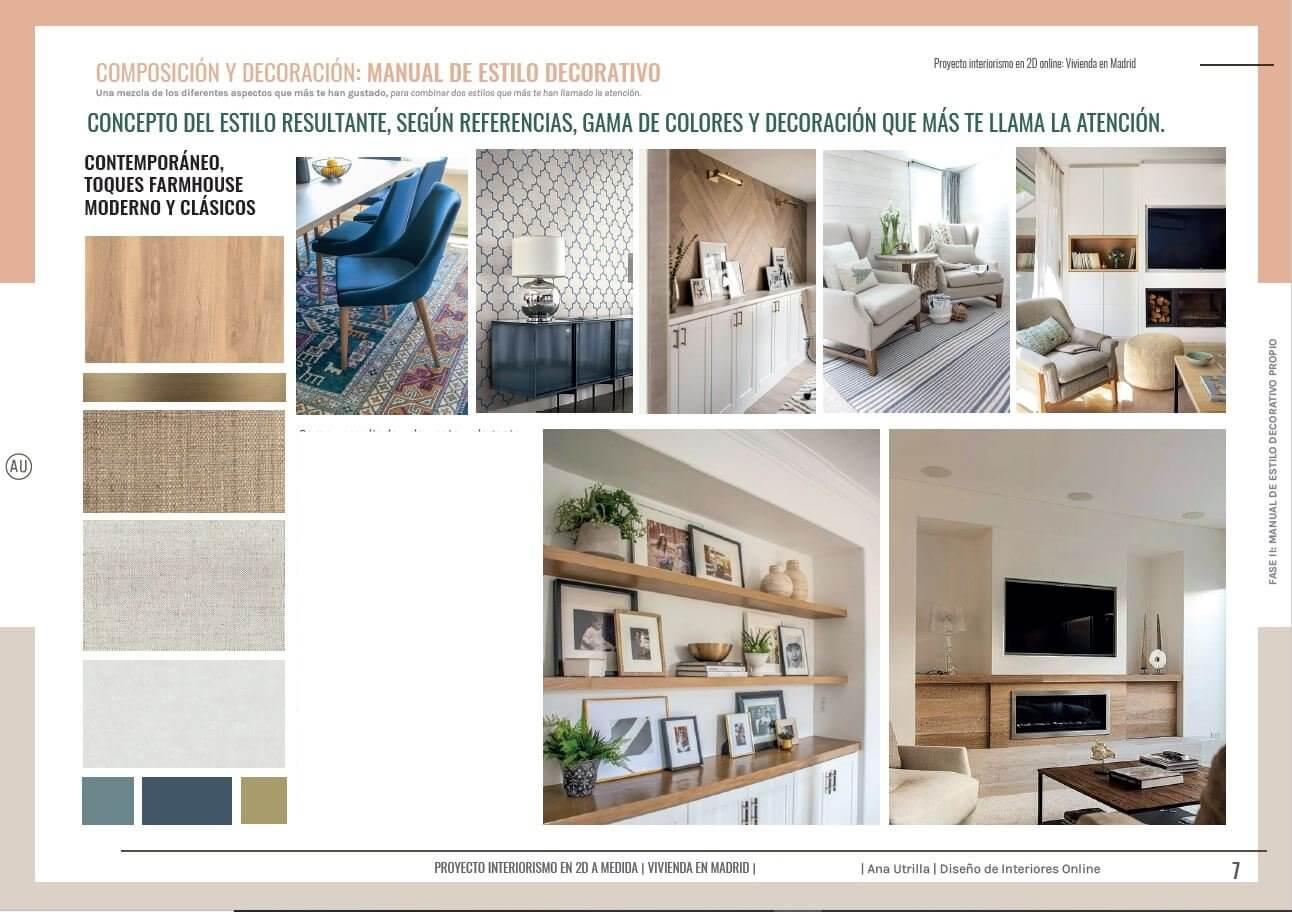 Manual de estilo decorativo, según necesidades, presupuesto y gustos del cliente. Se crea un estilo decorativo propio, para completar el interiorismo y la decoración de su salón comedor en Madrid #AnaUtrilla #Interioristaonline
