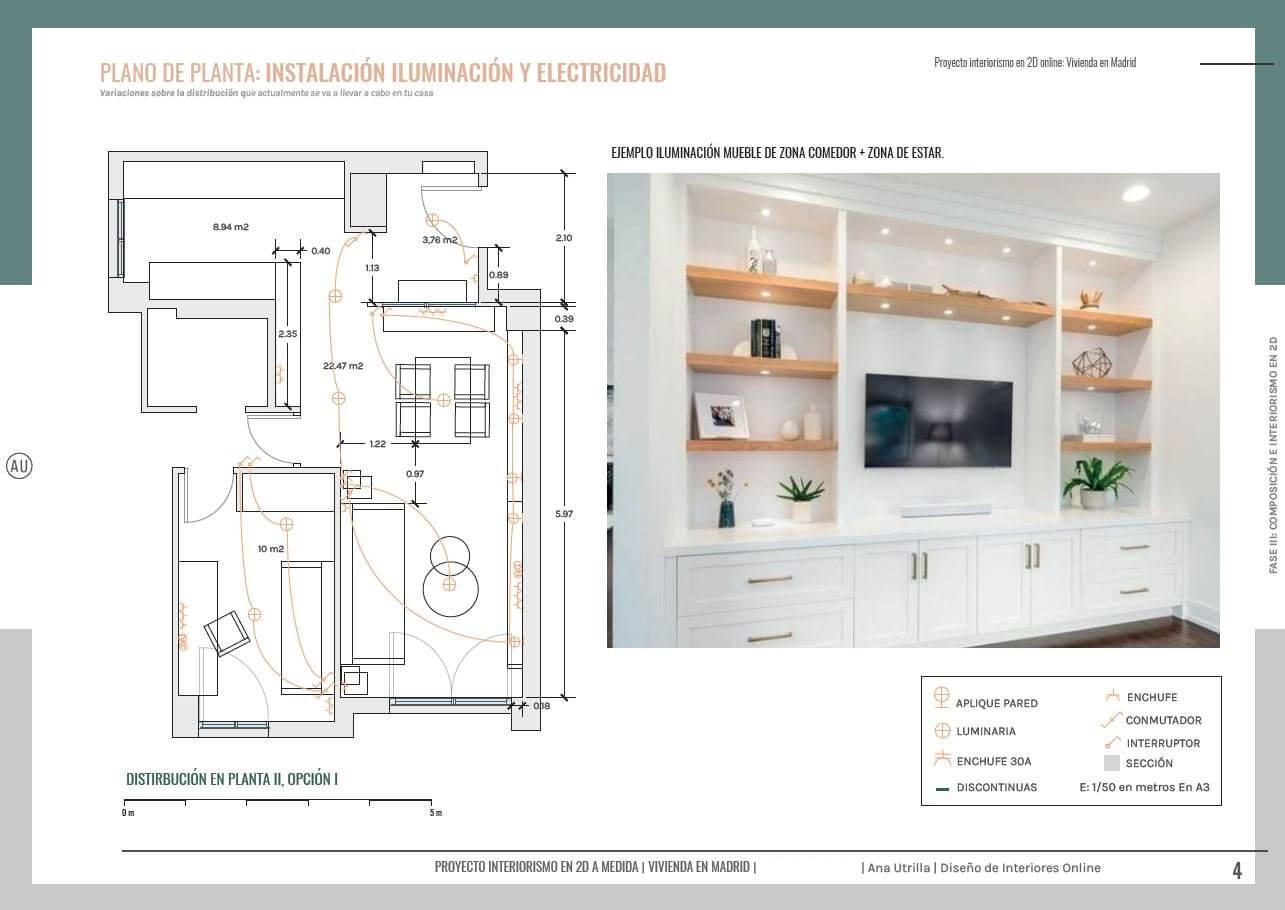 Planta con instalación de iluminación y electricidad, proyecto de interiorismo en 2D de salón comedor y home office en Madrid, de estilo clásico renovado. #AnaUtrilla #diseñodeinteriores #online