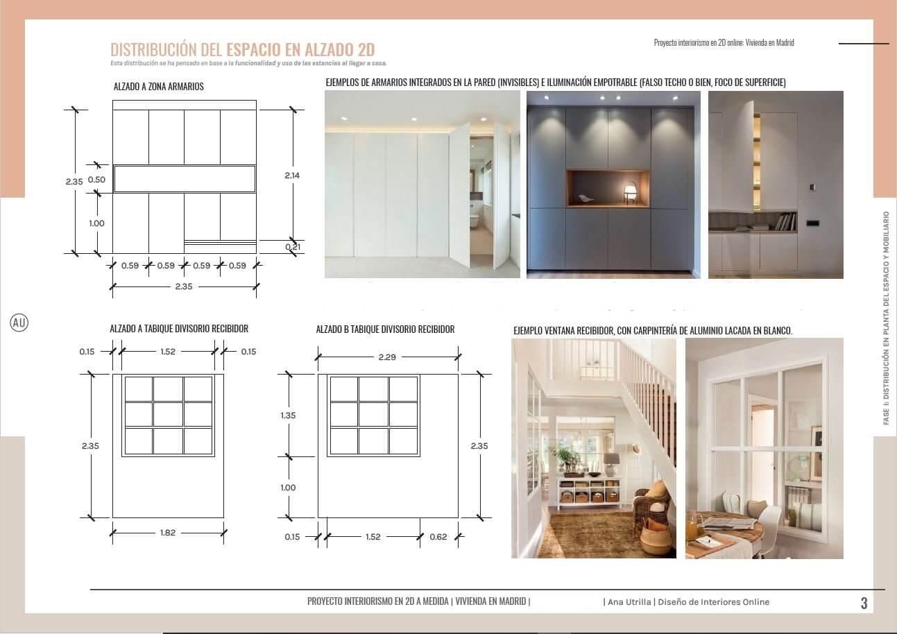 Alzados acotados y en 2D, diseño de mobiliario a medida, proyecto de interiorismo en 2D de salón comedor y home office en Madrid, de estilo clásico renovado. #AnaUtrilla #Interiorismoonline