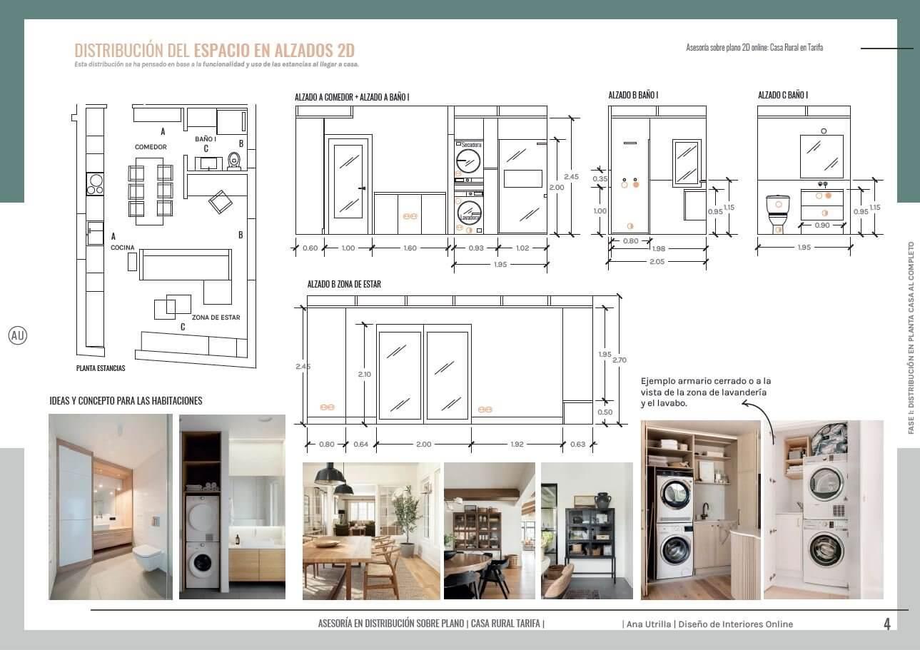 Alzados en 2D, acotados, de diseño de salón comedor a medida para casa rural en Tarifa, Ana Utrilla interiorista online