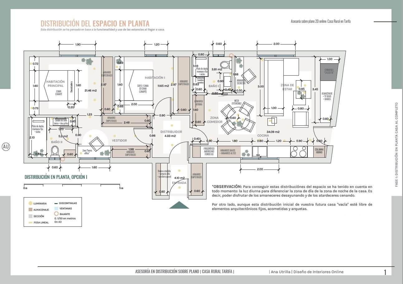 Plano de planta, opciones de distribución del espacio y del mobiliario. Proyecto de diseño e interiorismo de casa rural en Tarifa, las Cabrerizas. @Utrillanais #AnaUtrilla #Interiorismoonline
