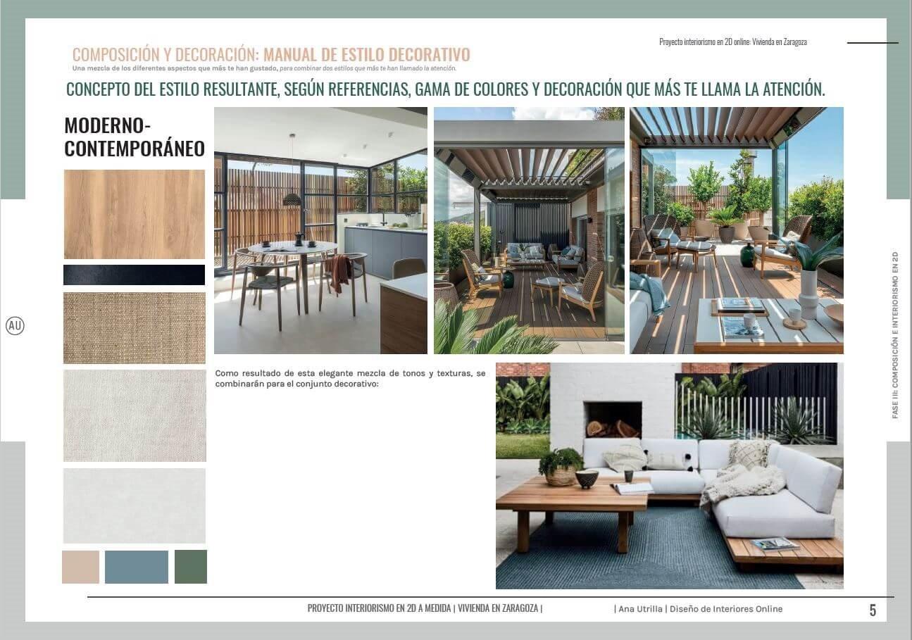 Manual de estilo decorativo, a partir de sus fotografías de referencia, paleta de colores y materiales predilectos, proyecto interiorismo en 2D de terraza en Zaragoza. #AnaUtrilla #Interiorismoonline