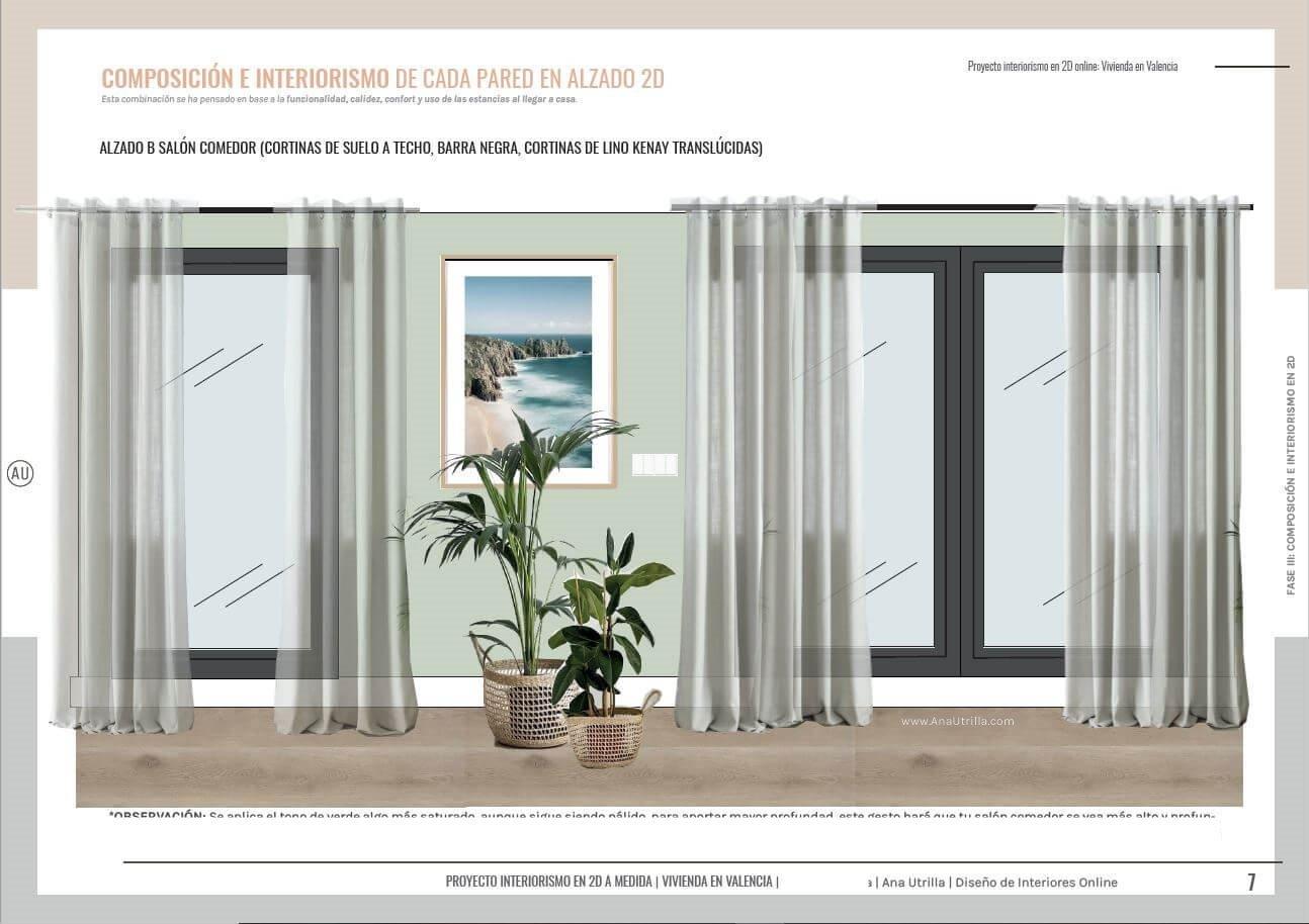 Alzado en 2D de zona de comedor de estilo nórdico, para proyecto de interiorismo y decoración online, en Valencia, de estilo nórdico-boho- #AnaUtrilla #diseñocasasconencanto