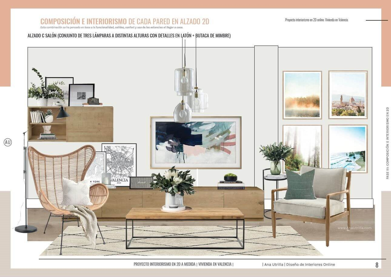 Alzado en 2D zona de estar, salón comedor en Valencia, de estilo nórdico boho, con toques mediterráneos, Ana Utrilla interiorismo online