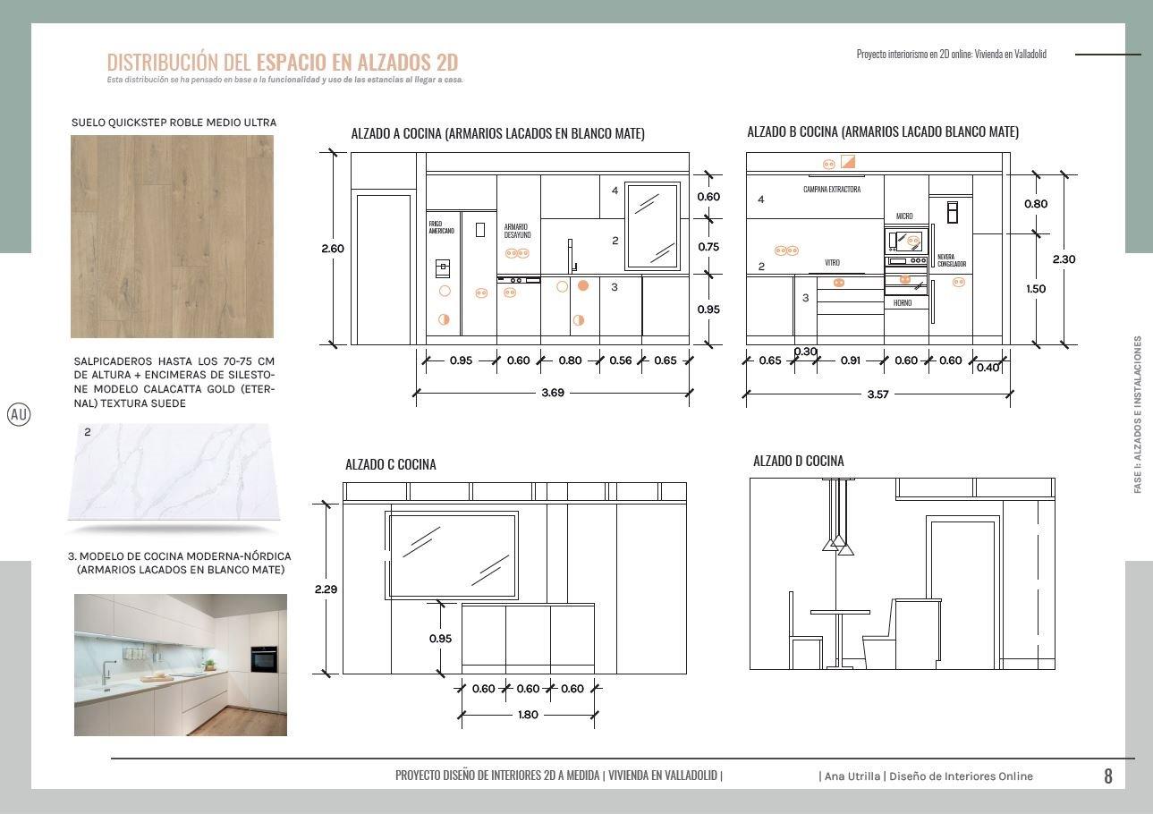 Alzados en 2D de cocina a medida, para reforma de vivienda en Valladolid, proyecto de diseño de interiores sobre plano #AnaUtrilla #Interioristaonline
