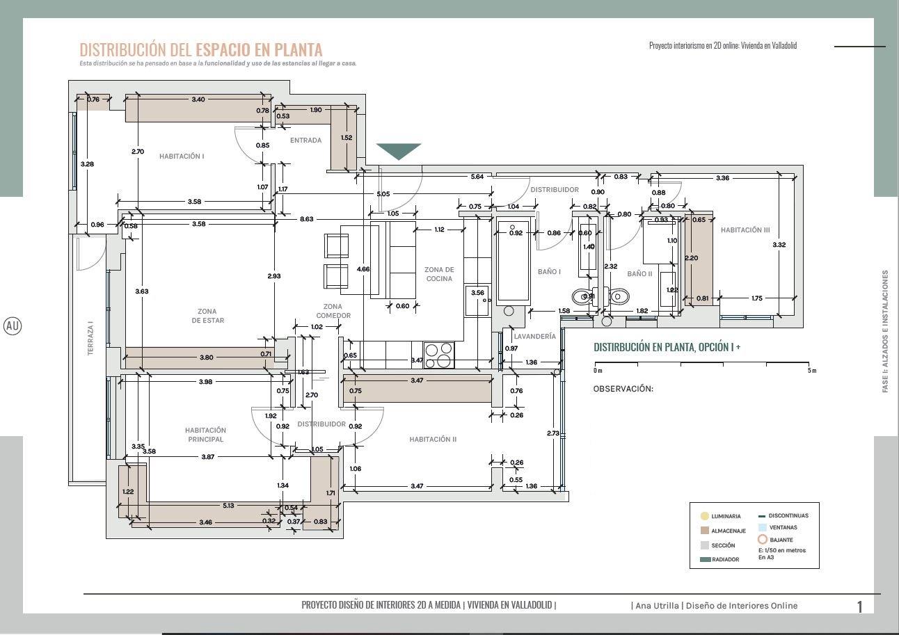 Plano de planta definitivo, distribución final de vivienda en Valladolid, proyecto de reforma sobre plano. #AnaUtrilla #Interiorismoonline