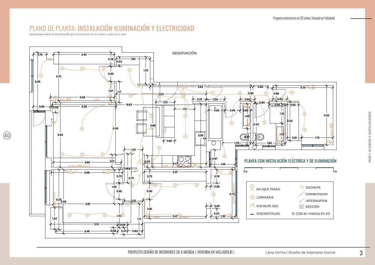 Plano de planta con instalaciones de electricidad e iluminación, definitivo. Proyecto de reforma de vivienda en Valladolid. #AnaUtrilla #Interioristaonline