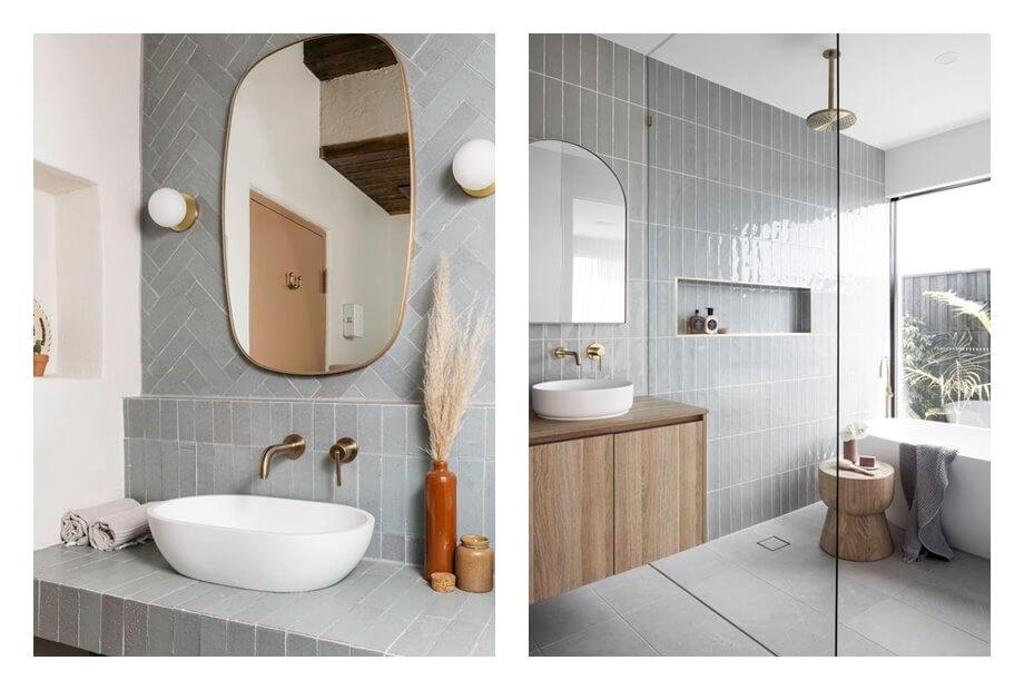 Baños de estilo art decó moderno, minimal de tonos neutros. Como evitar que tu espacio neutro parezca soso, con estos consejos de interiorismo eficaces. #AnaUtrilla #Interiorismoonline