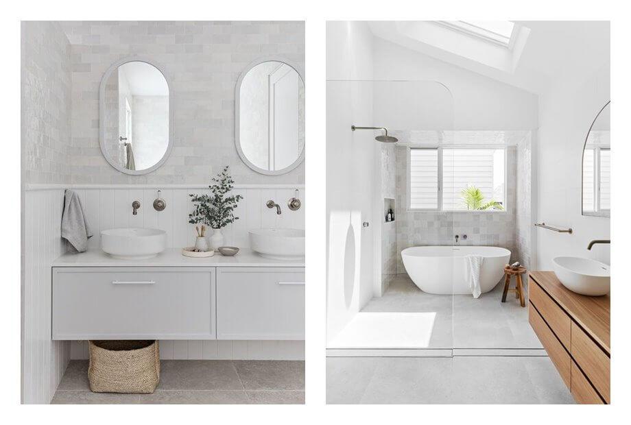 Baños luminosos, claros, de estilo wellness, tonos blancos. Como evitar que tu espacio neutro parezca soso, con estos consejos de interiorismo eficaces. #AnaUtrilla #Interiorismoonline