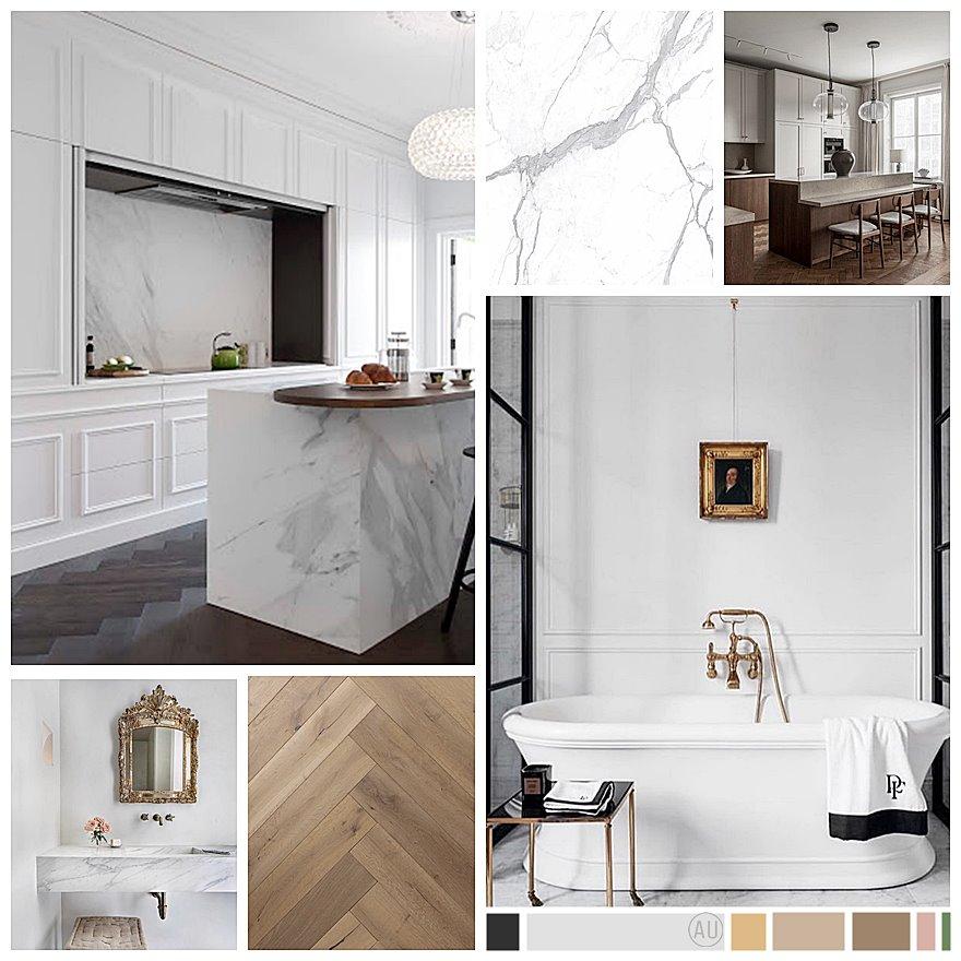 Moodboard proyecto de interiorismo y reforma de cocina y baños de estilo francés en San Sebastián. #AnaUtrilla #interiorismoonline