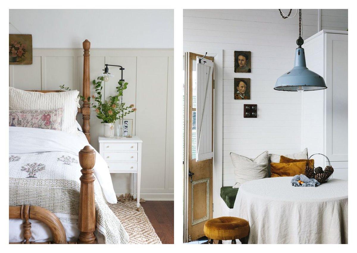 Dormitorio principal y cocina, de estilo cottagecore, tendencia 2021, tonos neutros, cálidos, acogedores, introducen la vida rural dentro del hogar. #Anautrilla #Interiorismoonline