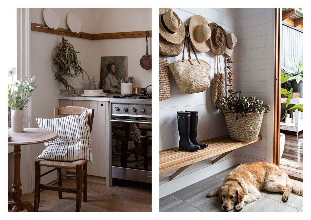 Zona de cocina y entrada de casa de campo, rural, de estilo cottagecore, tendencia en decoración de interiores 2021