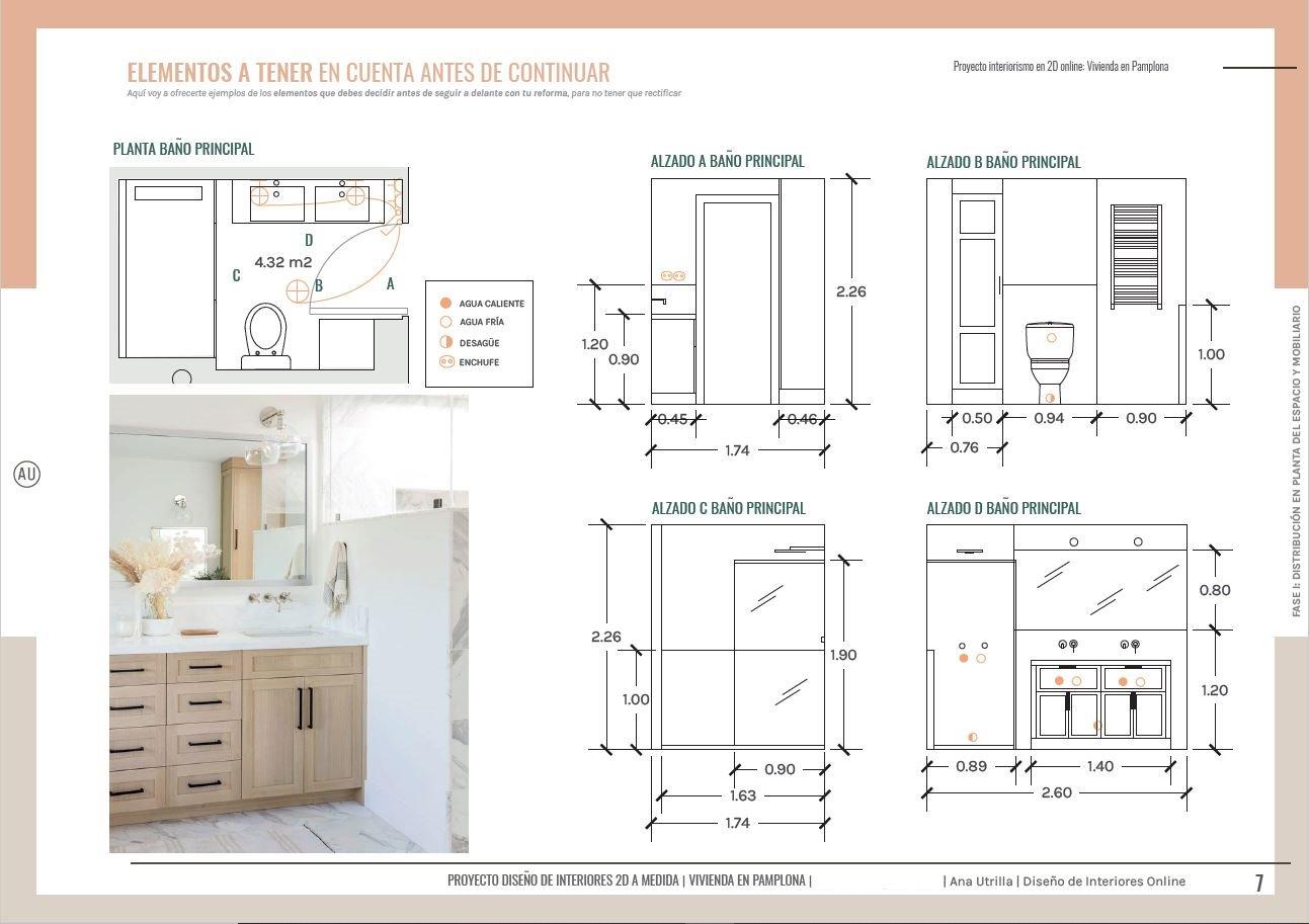 Diseño de mobiliario y baño a medida, reforma integral en Pamplona, de estilo clásico renovado. Planos, alzados e instalaciones, una guía completa de acción para dominar la reforma de tu casa. #AnaUtrilla #Interiorismoonline